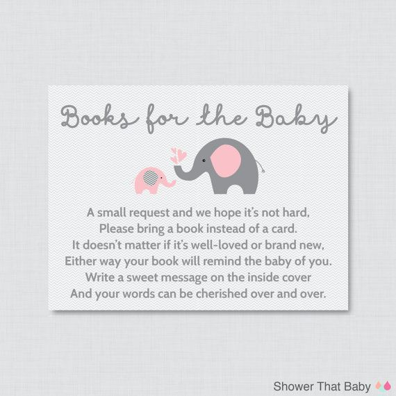 Printable Elephant Baby Shower Bring a Book Instead of a Card Invitation Inserts in Pink and Gray Help build the new babys library by