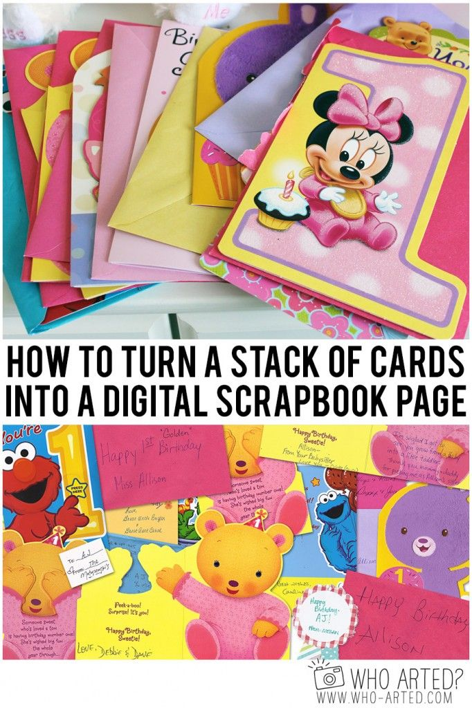 How to turn a stack of cards into a digital scrapbook page. Perfect for Shutterfly or Mixbook photo books!
