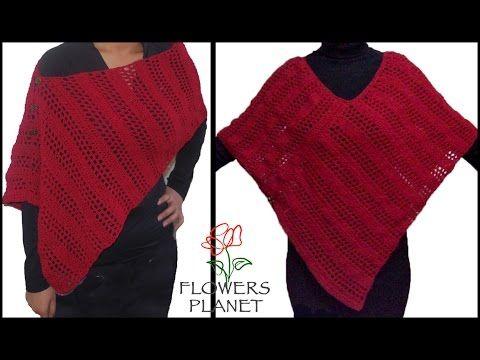 e6656b04b طريقة عمل شال مثلث و مستطيل بالكروشيه بسيط جدا للمبتدئين   كوكب الورود  Flower Planet - YouTube   امي   Crochet poncho, Red shawl, Crochet