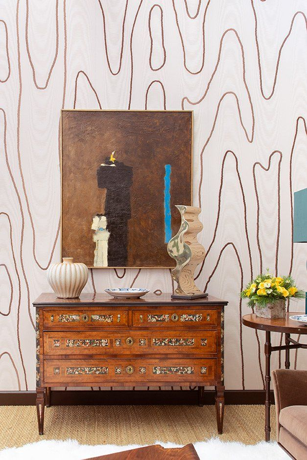 Check The Wallpaper Image By Visiting The Following Link Https Degournay Com Moir C3 A9 Hand Embroidered Wa Leather Wall Panels Artistic Tile Stencils Wall