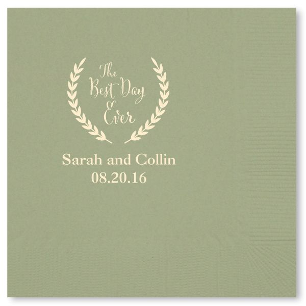 Personalized Best Day Ever Wedding Cocktail Napkins With A Rustic Wreath Garland Even Includes The