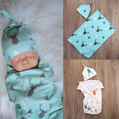 2016 Newborn Baby Boy Girl Deer Soft Stretch Wrap Swaddle Blanket Bath Towel Hat 2pcs Bebes Swadding