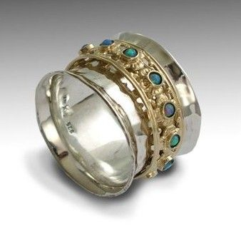 Gemstones ring Meditation ring wide silver band by artisanimpact, $420.00