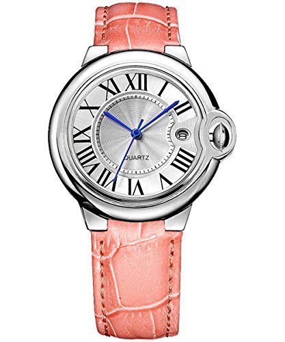 BINGER Womens Date Quartz Dress Watch Roman Numerals and Leather Strap Pink with Vintage Style 18L-B