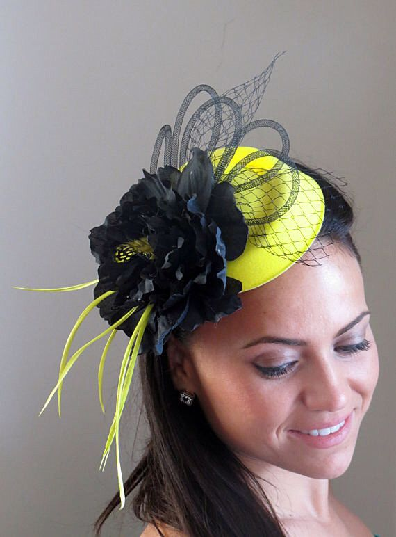 """Neon yellow fascinator black peony wedding hat """"LIME LADY"""" by FascinatorsFirst on Etsy https://www.etsy.com/listing/102119669/neon-yellow-fascinator-black-peony"""
