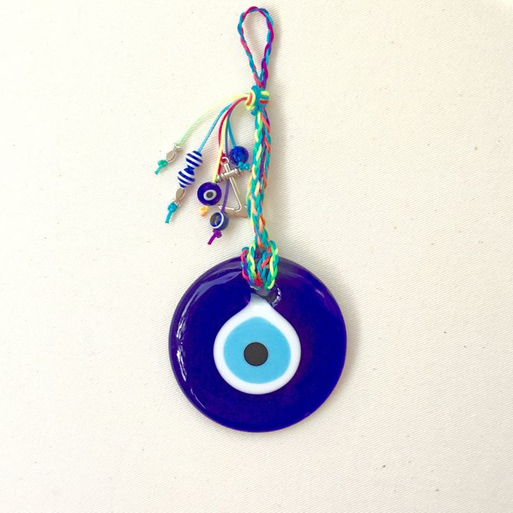 Round Evil Eye, charm, good luck charm, evil eyes, nazar, talisman, home decor, blue evil eye, lucky eye, wall hanging, good luck charm by hippiefishbeachart on Etsy