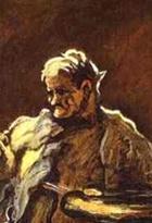 이 작품 속의 화가는 자신을 그린 것이다. 그러나 얼굴의 윤곽선이나 형태가 분명히 그려져 있지 않아 쉽게 알아보긴 힘들다.   고민에 찬 얼굴로 캔버스를 주시하는 모습이 엿보인다.   아마 작품 활동을 하는 동안 자신의 고뇌를 나타내는 것이 아닌가라는 생각이 든다.