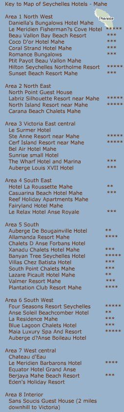 List Of Hotels In Seychelles | Seychelles Map of Hotels Mahe | Seychelles Hotels on Mahe Island Map