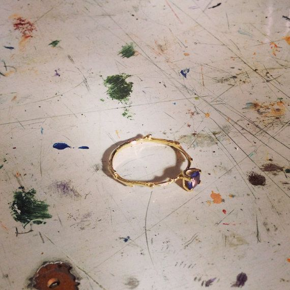 Gold and Blue Tanzanite Twig Ring  by MichelleOhJewellery on Etsy, £480.00
