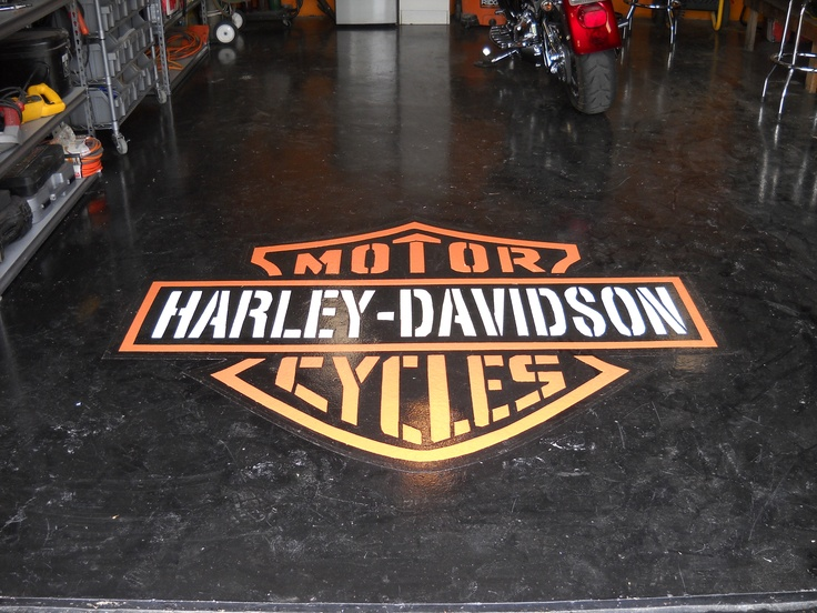 Sundek of San Antonio custom garage floor epoxy logo.  For all of you Harley Davidson enthusiasts out there, express yourself.