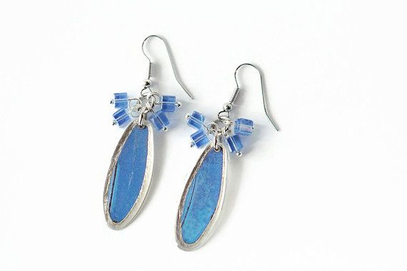 Blue Morpho Earrings With Silver Leaf and Beads  by MONARCASHOP