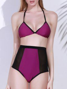High-Waisted Color Block Bikini Set - Purple