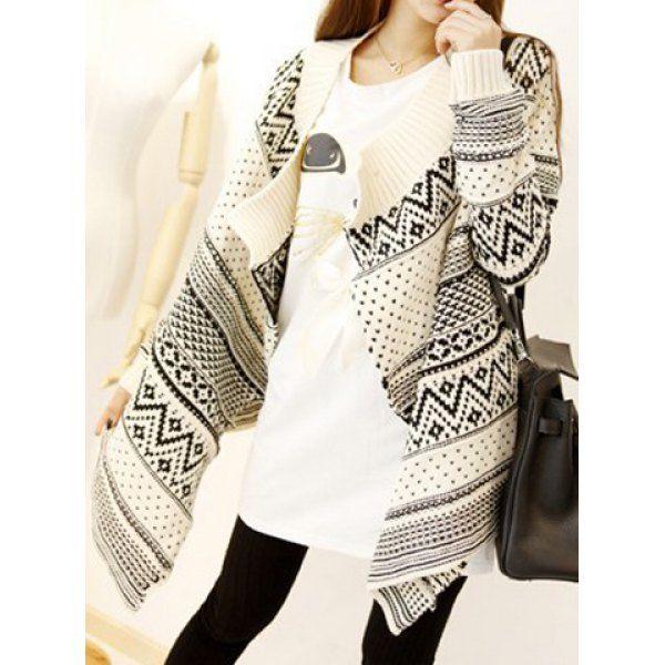 Trendy Style Jacquard Pattern Irregular Long Sleeve Women's Cardigan, OFF-WHITE, ONE SIZE in Sweaters & Cardigans | DressLily.com
