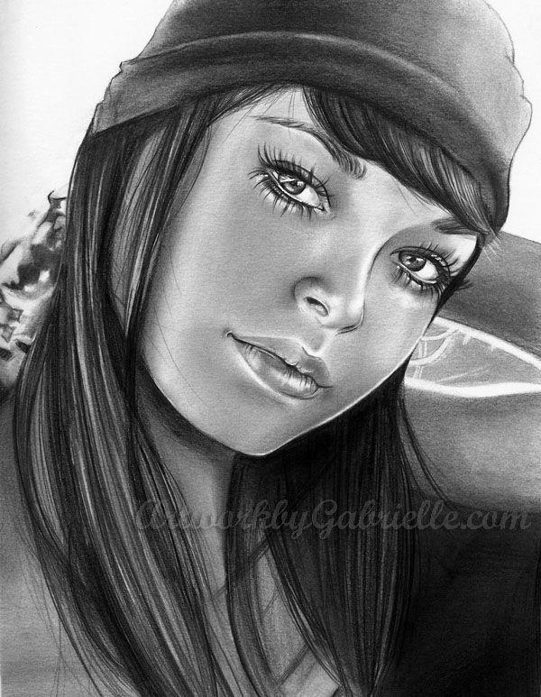 "Boho Girl Portrait, drawing / Ragazza Hippy Bohemiene, Ritratto, Disegno - Artwork by Gabrielle (Art by gabbyd70 on deviantART), ""Content"""