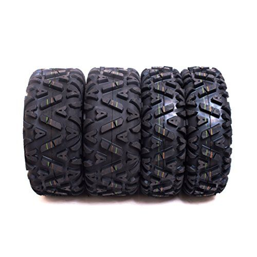 Set of 4 Sun.F A033 ATV Tires 25x8-12 & 25x10-12, 6PLY Front&Rear. For product info go to:  https://www.caraccessoriesonlinemarket.com/set-of-4-sun-f-a033-atv-tires-25x8-12-25x10-12-6ply-frontrear/
