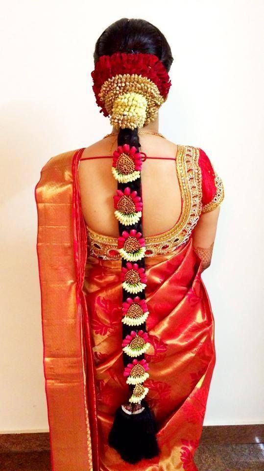 indian wedding hairstyle gallery%0A south indian wedding hairstyles long braid with jewelery and flowers elegant
