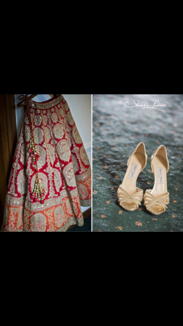 The next most important part of any wedding is bridal clothes and shoes... I just love the color combination of the lehenga perfect traditional, classic yet modern for the too be bride the gold shoes just perfectly blends with the lehenga.