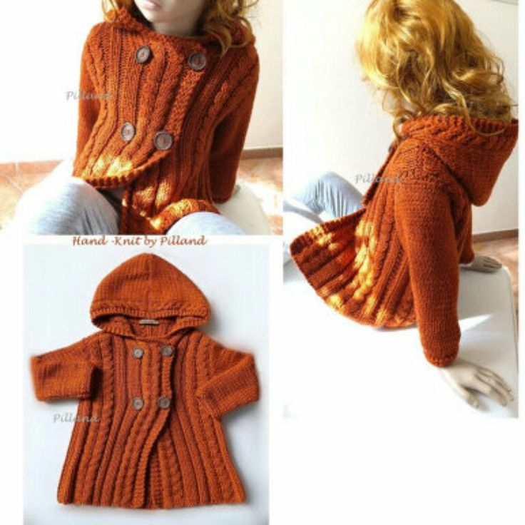 Childrens Hooded Hand- knit Jacket