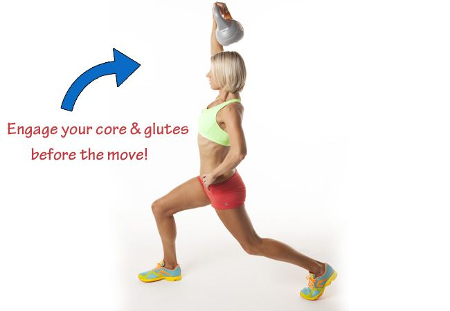 Lunge and press with kettlebell - Best exercises for a Brazilian butt - Women's Health & Fitness