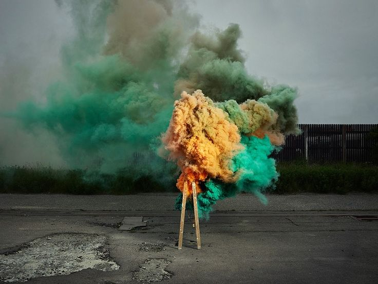 New Smoke Based Photographs By Ken Hermann Capture Colorful Bursts Rising  From An Industrial Corridor