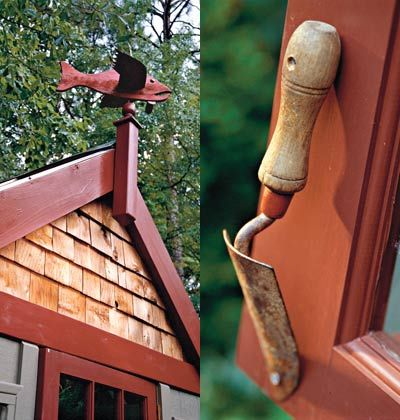An old trowel attached to the door is the perfect doorknob, adding both function and charm.