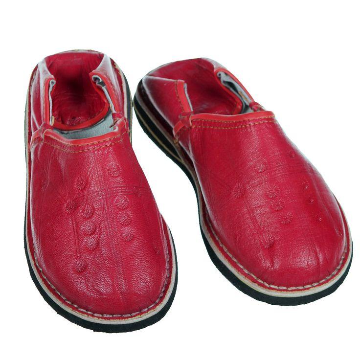 Rote Leder-Babouche aus Marrakech. www.albena-shop.de