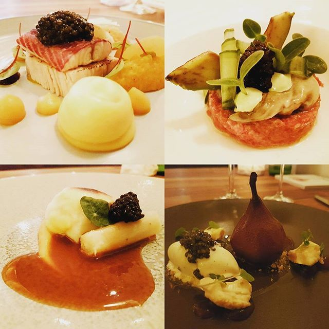 Some great dishes created by chef / owner Rick May of @restaurantfris using 4 variaties Caviar of @caviarsturia d'Aquitaine.  Dish 1 : Eel, bacon and Caviar d'Aquitaine Sturia 'Primeur'. Dish 2 : Steak tartare beef, poached oyster and Caviar d'Aquitaine Sturia 'Vintage'. Dish 3 : Haddock, hollandaise sauce and Caviar d'Aquitaine Sturia 'Origin'. Dessert : Pear, vanilla ice cream and Caviar d'Aquitaine Sturia 'Oscietra Grand Cru'. #kaviaar #caviar #yummie…