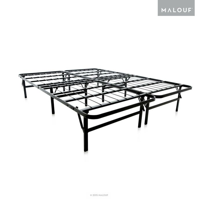 "Folding Metal Bed Frame - 14 Inch High Bi-Fold Platform Bed Base Foundation Durable and affordable alternative to a traditional box spring and frame    13"" of clearance for up to 39 cubic feet of storage space Easy set up, take down and storage in less than a minute - simply unfold and position the mattress; no tools required Eliminates the need for a box spring - saving money and creating storage space Heavy-duty wire latticework provides continuous support for traditional and foam…"