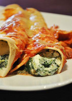 Überbackene Tortillawraps mit Spinat-Frischkäse-Füllung