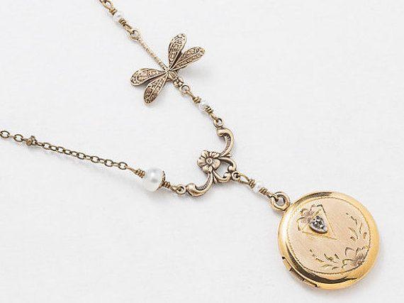 Antique Gold Locket Necklace Gold Filled Locket by steampunknation