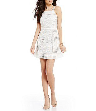 Skies Are Blue Mixed Lace Fit And Flare Dress