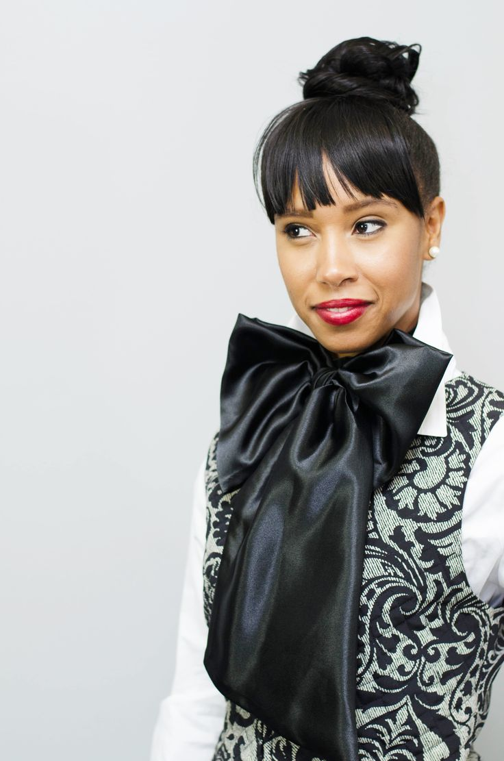 """Rocking a Solid Black Fishtail Chic Neckerchief with a vest and white Oxford shirt, you can too, check them out@WWW.SCARF-ART.COM, """"Pre-tied for you, just button and go!"""""""