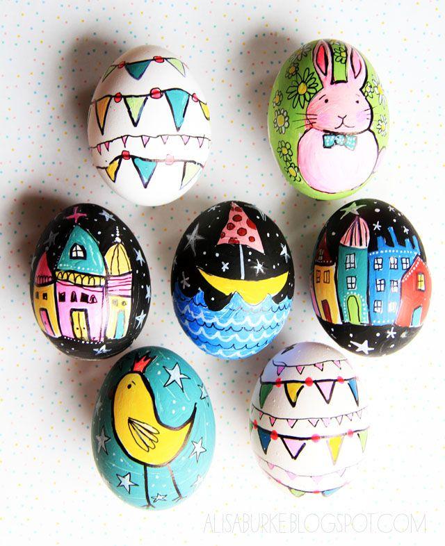 alisaburke: stravaganti uova di Pasqua - svuotate e dipinte con acrilico