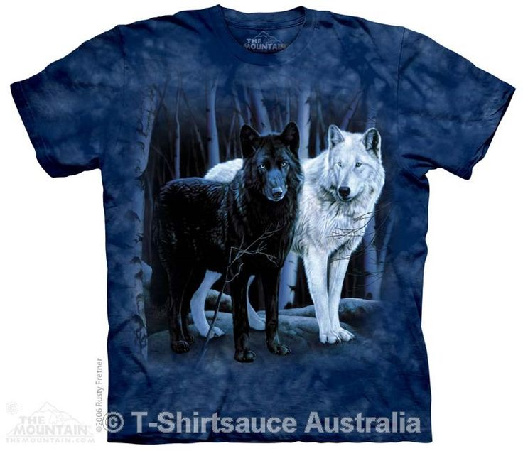 Black and White Wolves Adults T-Shirt