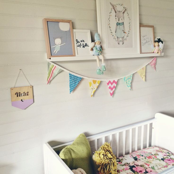 Baby girl nursery design decor interior idea shelf modern country style lining boards white grey floral renovation relocation