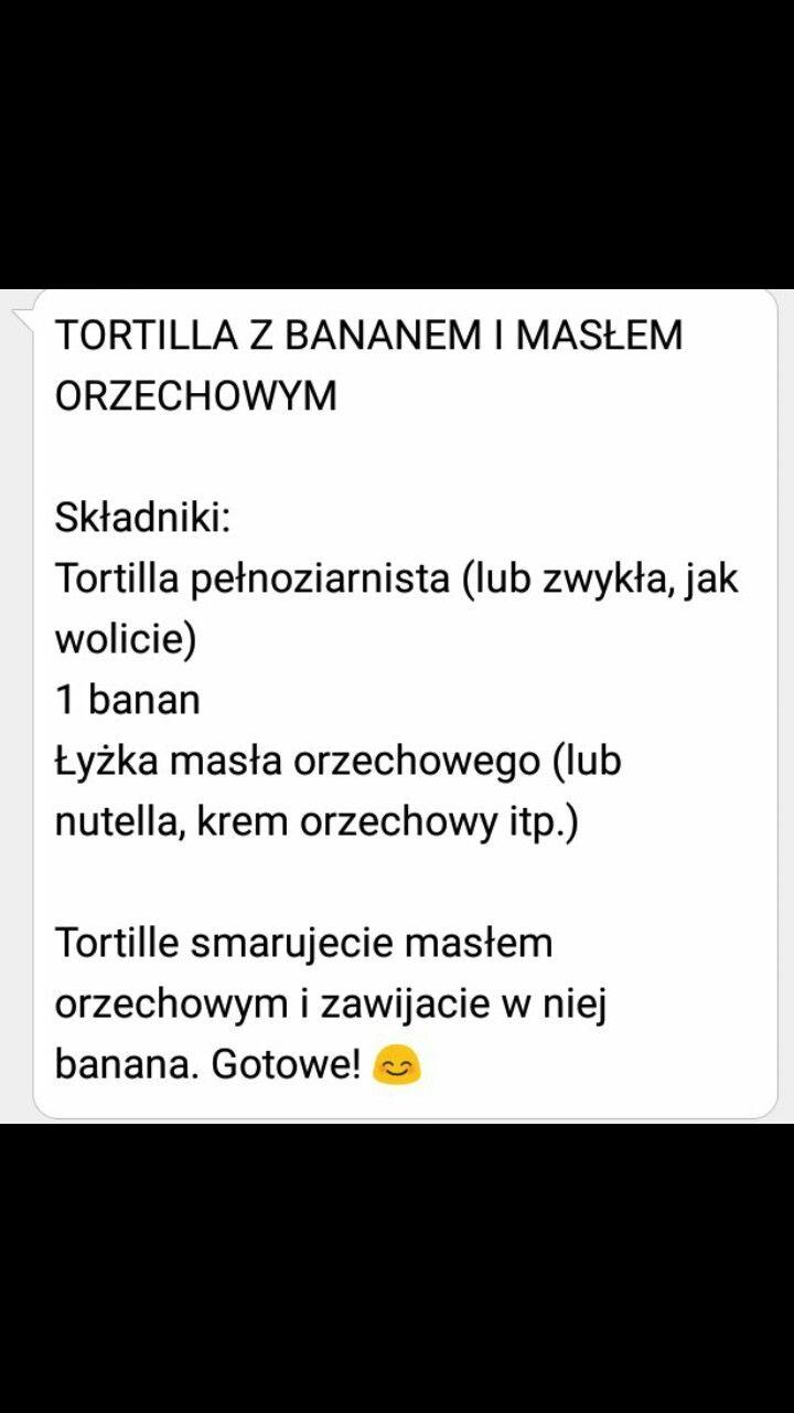 Tortilla z masłem orzechowym i bananem