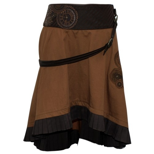 Brown Steampunk Skirt with a Belt and Clockwork Detailing - MADE TO ORDER - STEAMPUNK - 2012 Collection!