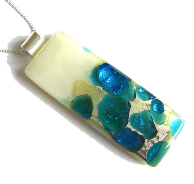 Blue and Cream Fused glass, sterling silver pendant necklace