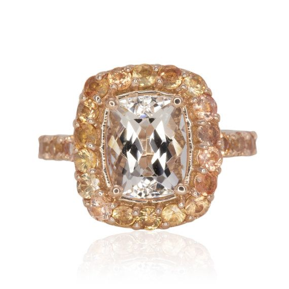 Bague en saphir pêche avec coussin coupe naturelle Morganite, 14k Rose Morganite fiançailles bague en or rose anneau de la main droite émeraude - LS4052