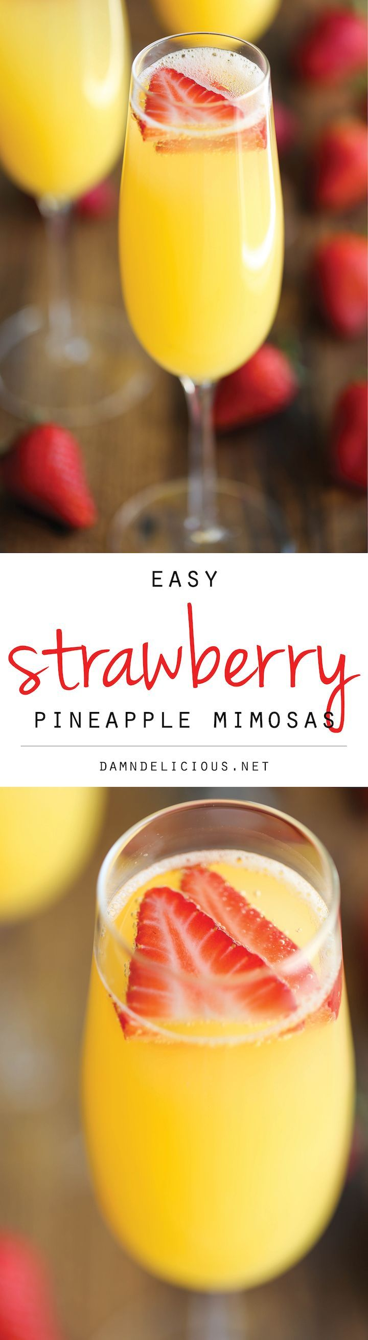 Mom-osas - use sparkling white grape juice for baby shower! Strawberry Pineapple Mimosas - The easiest, quickest, and best 4-ingredient mimosa ever. And all you need is just 5 min to whip this up!