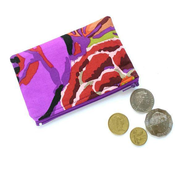 Purple Floral Coin Purse, Floral Change Purse, Floral Earbuds Holder, Purple Small Purse, Lipstick Pouch, Floral Coin Pouch