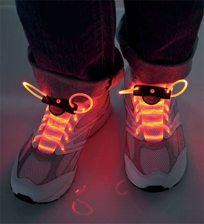 LED Light-Up Shoelaces    SICK shoelaces that have LED lights with three settings: constant glow, blink, and slow flash.  Over 70 hours and waterproof BABY!