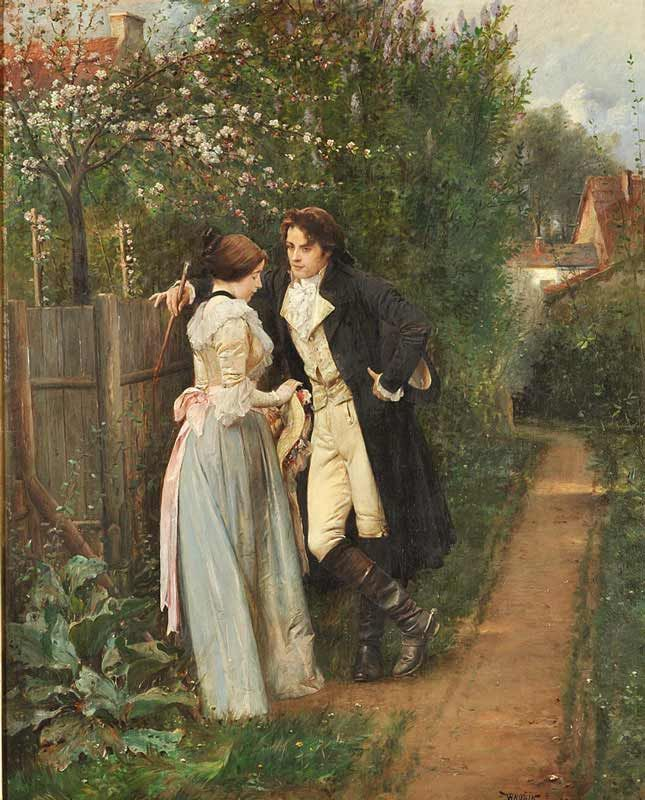 Spring, The Fence, Vaclav Brozik 19th century I really wish men dressed like this...sigh