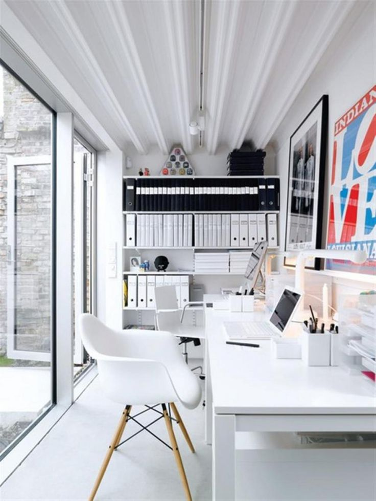Stylish Home Office Space Ideas In White Contemporary Home Office Design