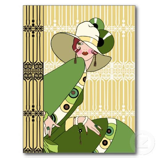 1920s Art Deco Lady in Yellow and Olive Postcard