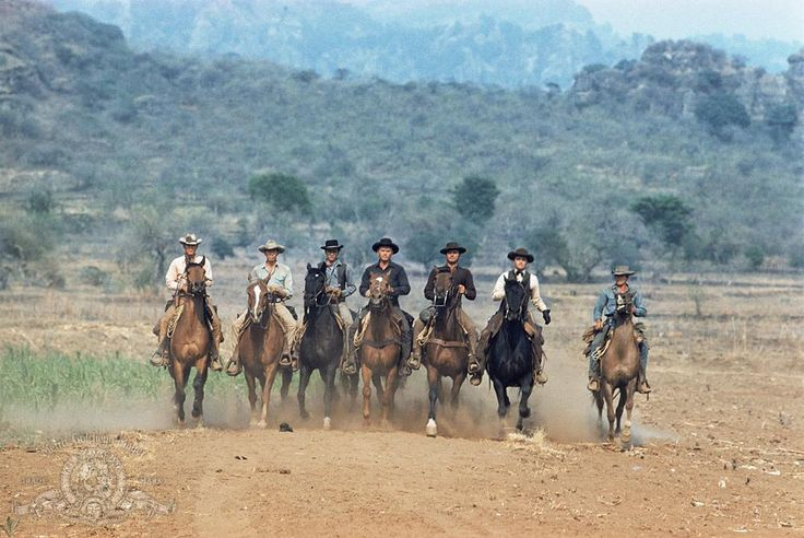 Still of Charles Bronson, James Coburn, Steve McQueen, Yul Brynner, Robert Vaughn, Horst Buchholz and Brad Dexter in The Magnificent Seven