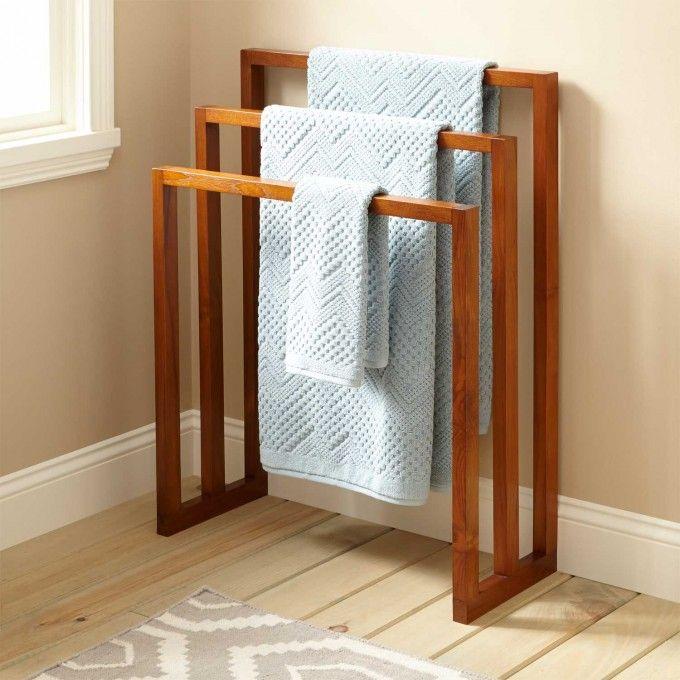 "28"" Layla Teak Towel Hanger with 3 Levels"