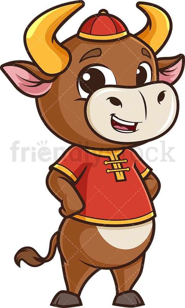 Cute Chinese New Year Ox Cartoon Clipart Vector Friendlystock In 2021 Cartoon Clip Art Chinese Cartoon Cartoon Illustration
