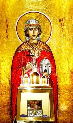 The relics and mosaic of Holy GreatMartyr Saint Barbara - St. Barbara's Orthodox Church, Santa Barbara, California