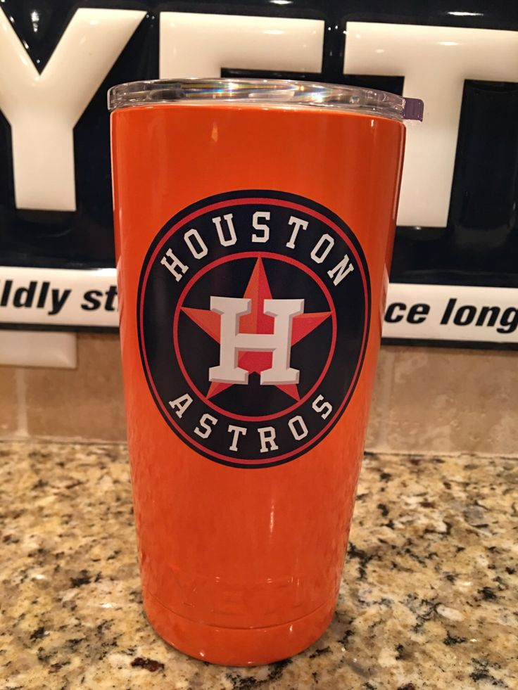 Custom YETI Rambler Tumbler in Orange Gloss with Houston Astros Logo - Powder Coated by JessBoysColors on Etsy https://www.etsy.com/listing/469359999/custom-yeti-rambler-tumbler-in-orange
